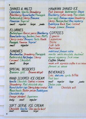A.J's menu