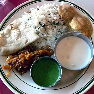 Vegetarian plate at Bombay Grill