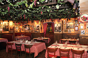Buca Di Beppo Is Notorious For Its Zany Tongue In Cheek New Jersey Style Italian Restaurant Décor And Huge Portions Of American Dishes