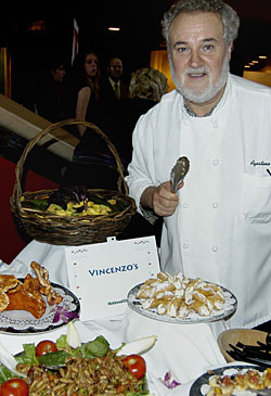 Chef Agostino Gabriele presides over Vincenzo's table at last summer's WorldFeast. Photo by Robin Garr.