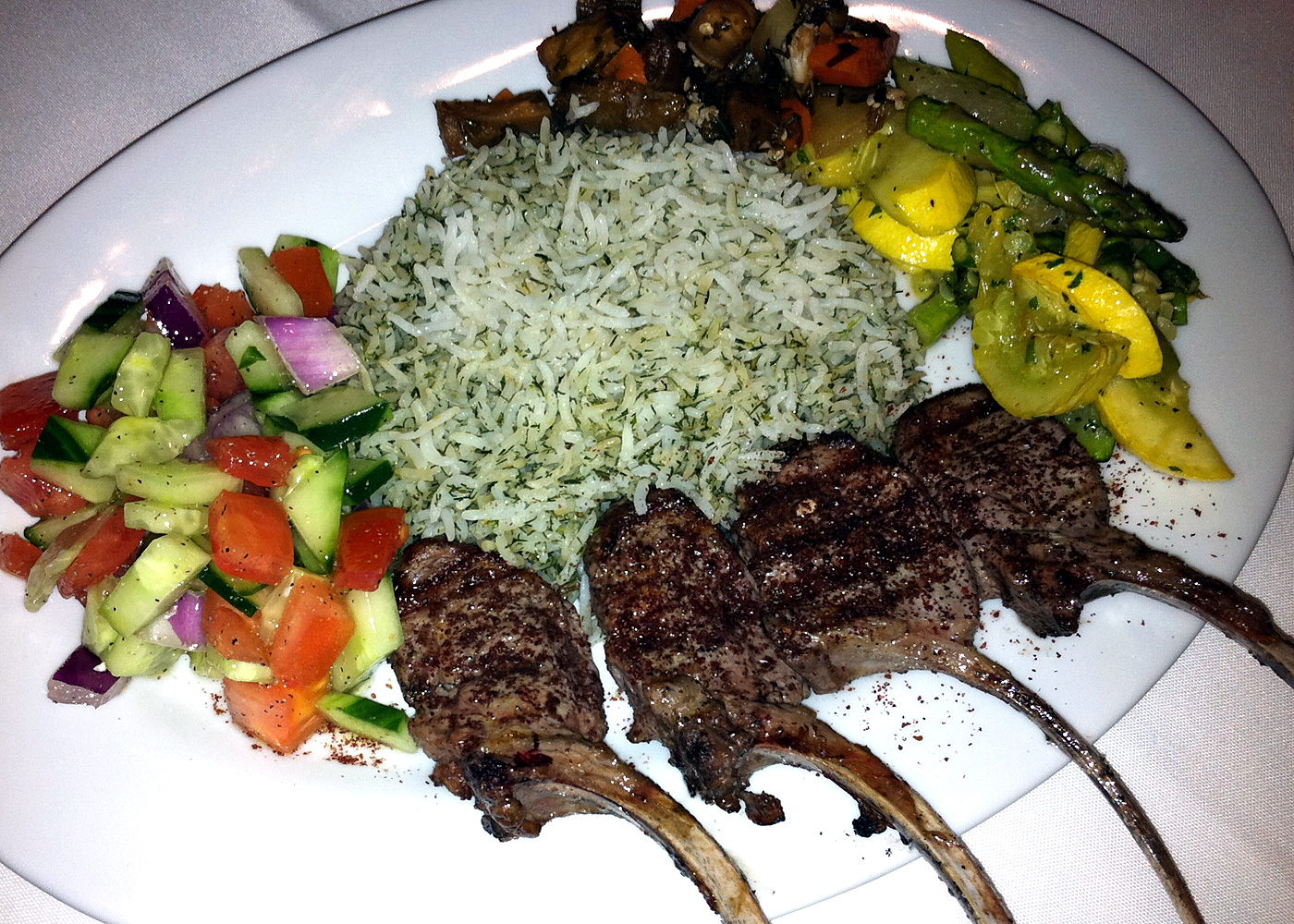 lamb chops and rice