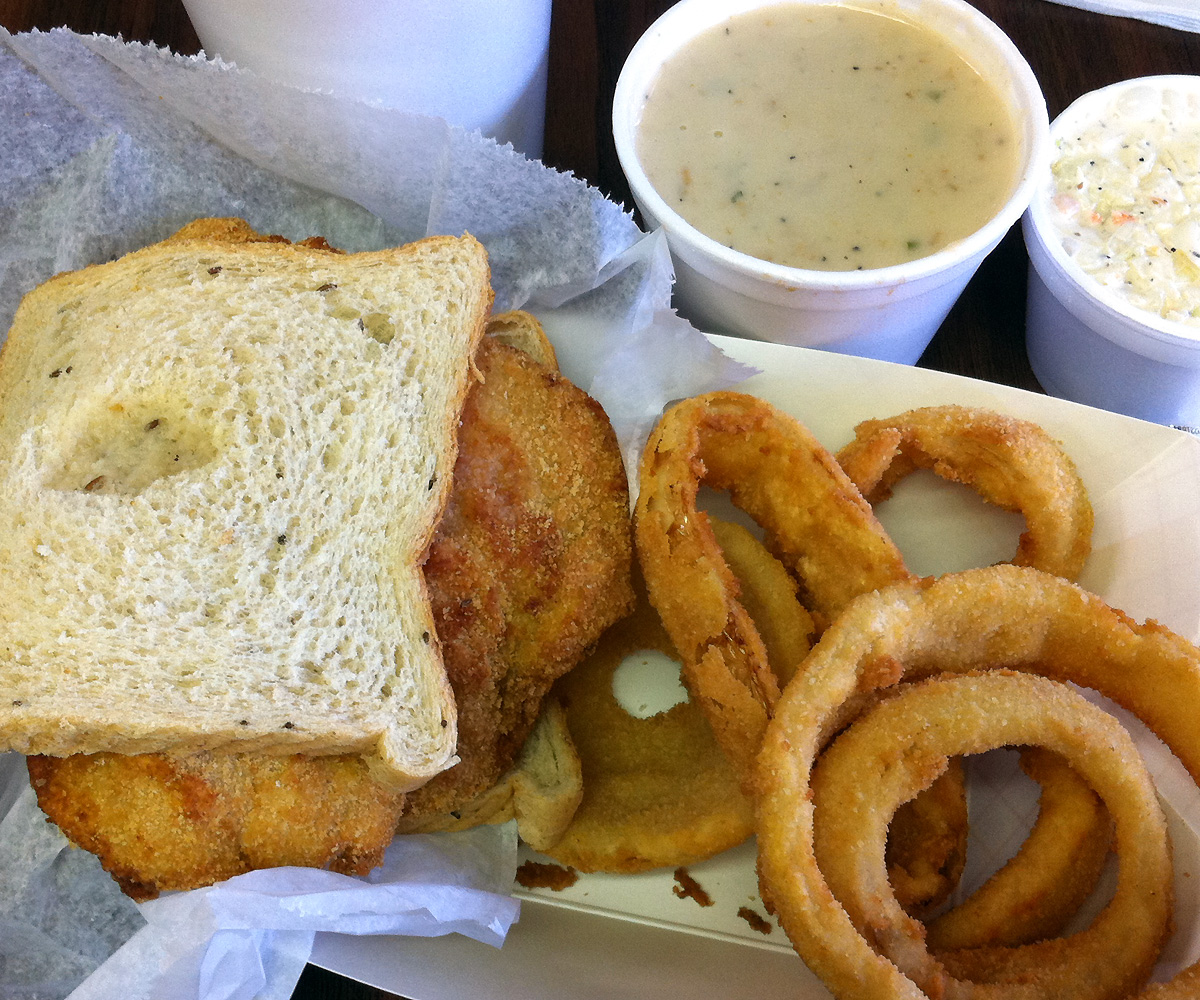 fish on rye and onion rings