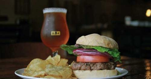 burger, chips and beer