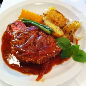 Venison meatloaf at Majid's
