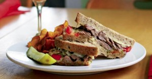 Corned beef sandwich at Merician Cafe. LEO photo by Ron Jasin.