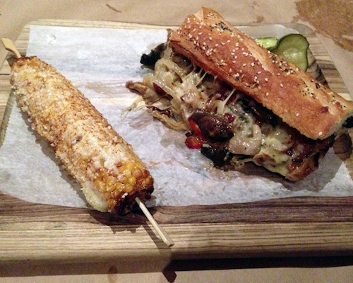 Mushroom cheesesteak and elote at Mussel & Burger Bar
