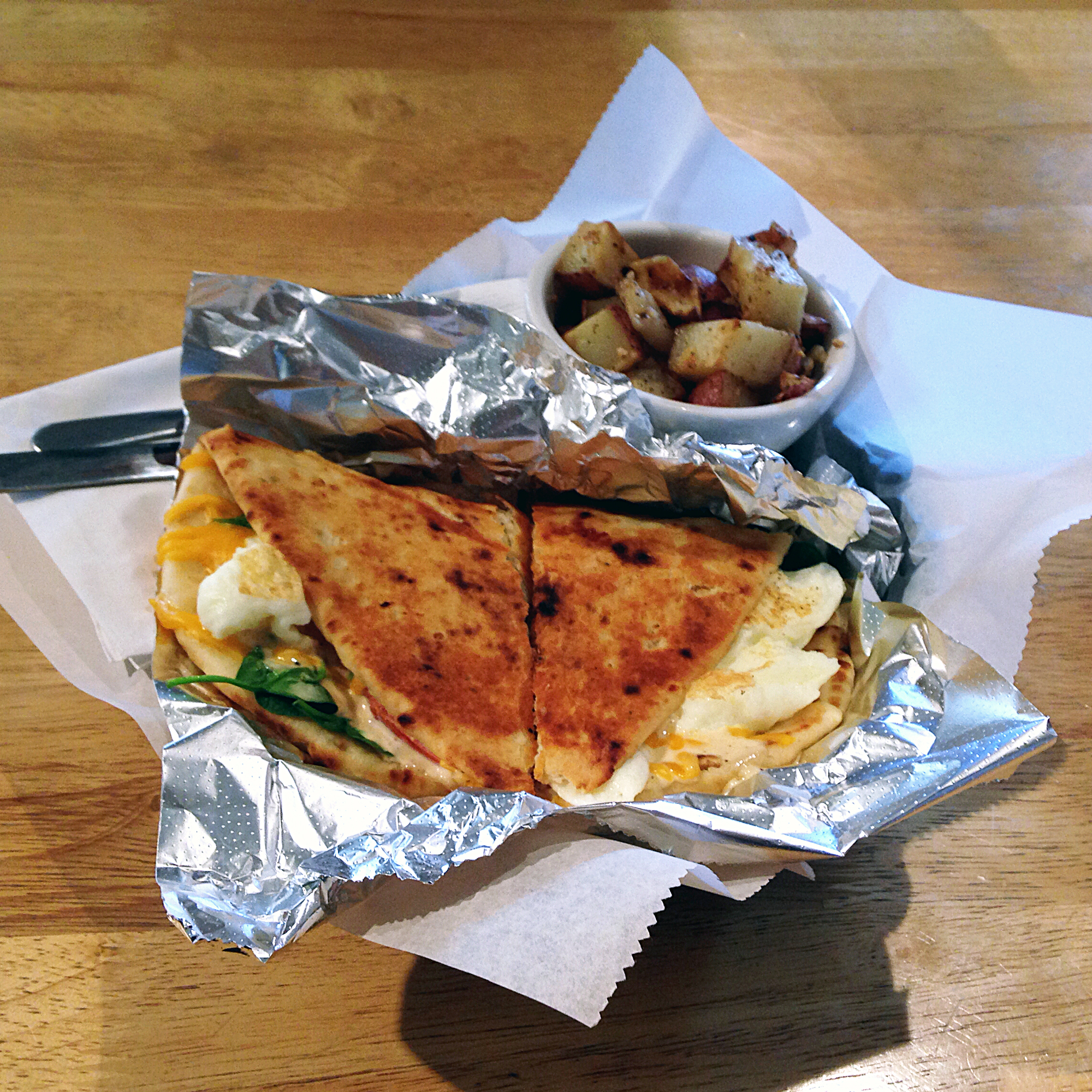 The breakfast naan quesadilla at Earth Friends Cafe