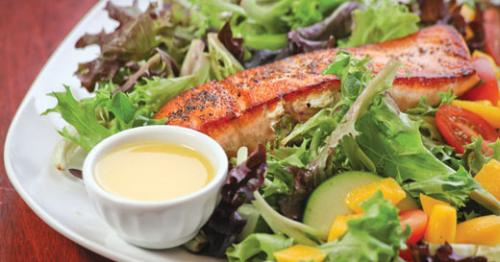 Pan-seared salmon salad at Cheddar Box Too. LEO photo by Frankie Steele.
