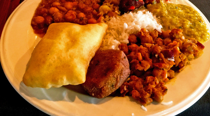 A full plate from the lunch buffet at Shandaar Indian Restaurant.
