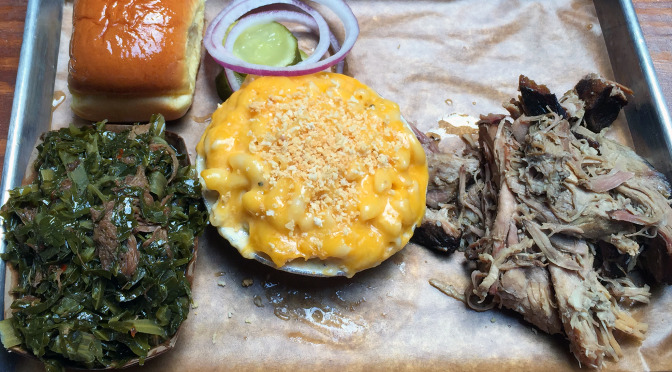 Feast BBQ's Pulled Pork with Mac and Cheese and Collard Greens