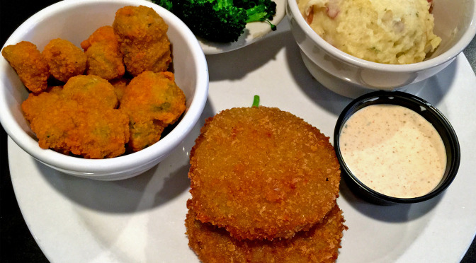 Fried green tomatoes, fried okra, steamed broccoli and mashed red potatoes at Goose Creek Diner.