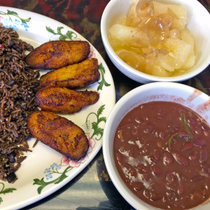 Yoli's Cafeteria Cuban Restaurant's maduros with black bean rice, fried plantains, yuca and red beans