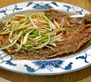 Oriental House's wok-seared whole flounder.