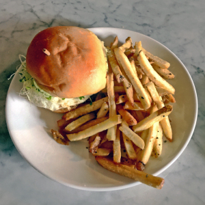 Burger and fries at Butchertown Grocery.