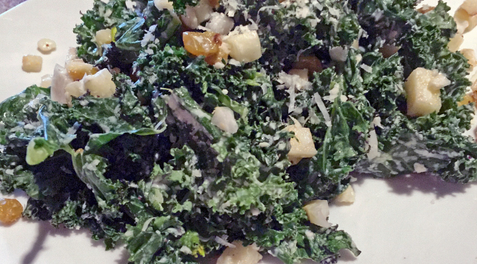 The Hub's grilled-kale salad