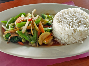 Fresh ginger stir-fry at Time 4 Thai.