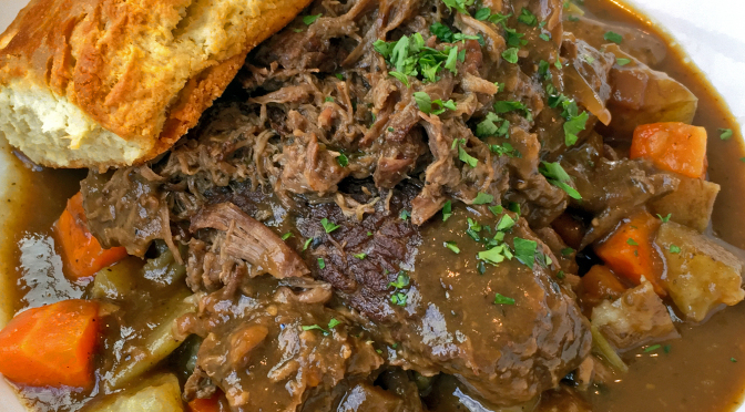 The slow-braised pot roast at Finn's Southern Kitchen