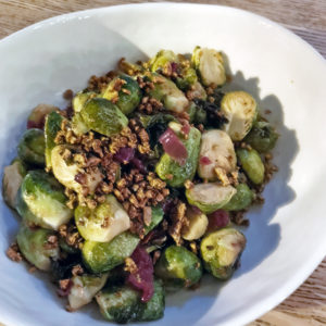 Roasted brussels sprouts and red cabbage at Fat Lamb.