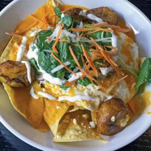 Huevos Motuleños at Mayan Cafe.