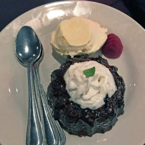 Molten chocolate and loaded bombe dessert at The Blackstone Grille.