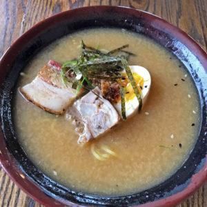 Chik'n & Mi's garlic miso ramen with pork belly.