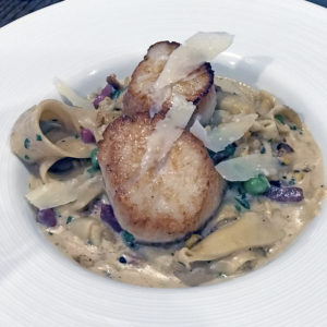 Fork & Barrel's scallops and pappardelle.