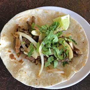 Las Gorditas' lengua (beef tongue) taco.