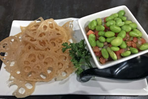 Lotus chips and edamame salsa, a fun starter at Hiko-A-Mon.