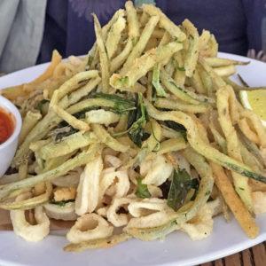 ROC's calamari with fried zucchini strips.