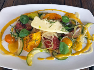 Heirloom tomato and charred cucumber salad at Harvest.