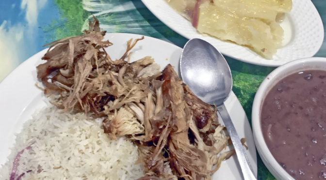 Lechon (Cuban roast pork) at Bodega mi Sueño.