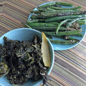 grilled kale and nori miso green beans