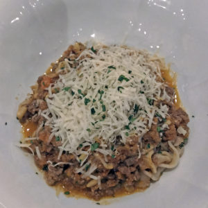 Volare's white beef Bolognese