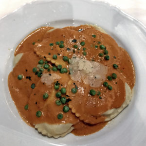 ravioli with creamy tomato-vodka sauce