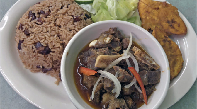 Caribbean Cafe's cabrit et sauce: stewed goat with Creole seasonings.