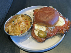 bar Vetti's crispy pork parm sandwich on the lunch menu.