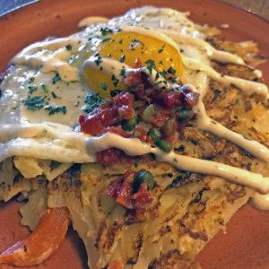 LouVino's Sunday brunch crispy potato hash browns.
