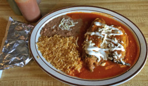 Chiles rellenos with rice and beans at La Lupita.