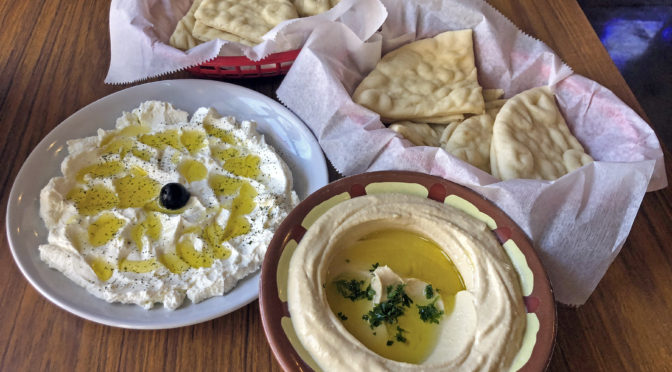 Appetizers at Aladdin's: Silken labneh yogurt cheese and an intense, creamy hummus.