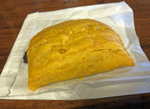 Jamaican beef patty at Roof Top Grill.