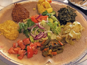 Combo plate No 1 at Abyssinia, served on a large round of injera
