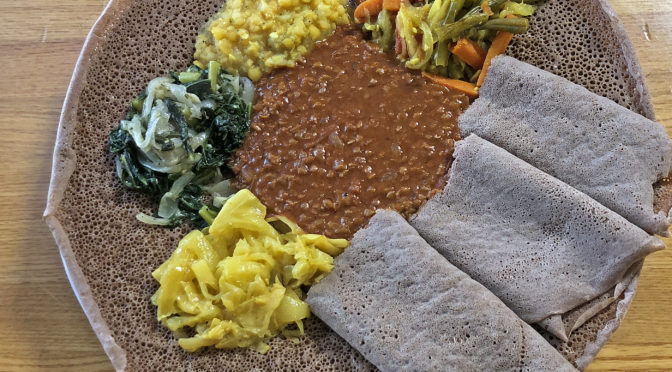 The Ethiopian lunch sampler on injera at Addis.