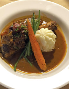 Anoosh Bistro's braised lamb shank with mashed potatoes.Anoosh Bistro's braised lamb shank with mashed potatoes.