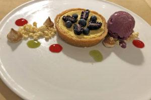 Lemon-curd tart with huckleberry ice cream at Anoosh Bistro.