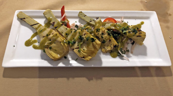 Anoosh Bistro's grilled Roman artichokes were so good that we ordered seconds.