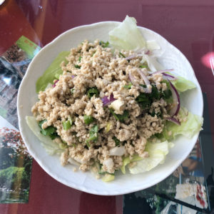 Mai's Thai's Laab, sometimes spelled larb, is a savory, finely chopped chicken salad.