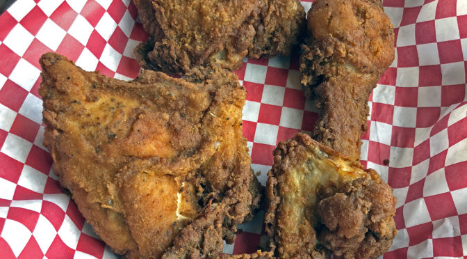 The Eagle's crisp, fiery fried chicken is billed as free-roaming and cage-free.