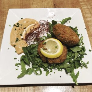 The fool-the-palate crab cakes at V-Grits are actually made from green jackfruit.