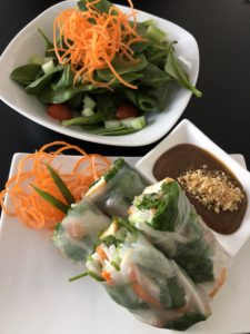 Spring rolls and a small salad at Eatz Vietnamese.