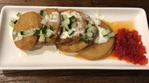 Fried green tomatoes at Down One Bourbon Bar.